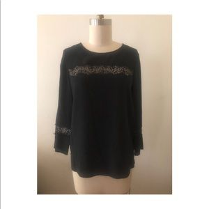Madewell black, silk and lace blouse